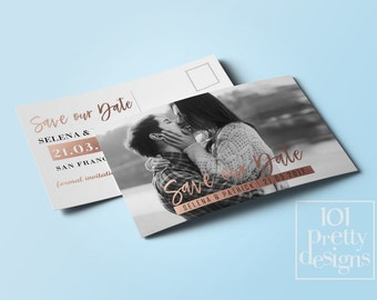 Photo save the date template printable save the date design gold foil postcard save the date card rose gold save the date card modern