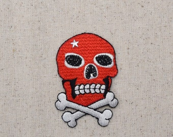 Red Jolly Roger - Skull and Crossbones - Iron on Applique - Embroidered Patch - 156568