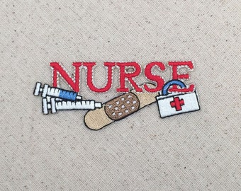 Red Nurse - Needle, Bandaid, First Aid Kit - Iron On Applique - Embroidered Patch - WA014