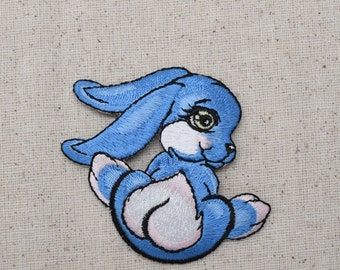 Childrens - Blue Rabbit - Bunny - Iron on Applique - Embroidered Patch - 796044