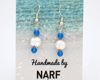 20% OFF SALE: Pacific Blue and Freshwater Pearl Recycled Glass Earrings