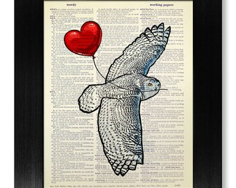 Hedwig Harry Potter HEDWIG Owl Art Print, HARRY POTTER Art, Snowy Owl Poster, Harry Potter Poster, White Owl Art, Heart Balloon Owl Poster