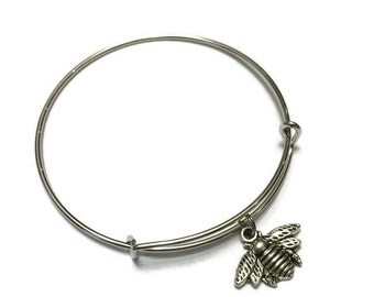 Bee Charm Bracelet - Bee Charm Bangle - Silver Bumble Bee Bracelet - Silver Bumble Bee Bangle - Silver Adjustable Charm Bangle Bracelet