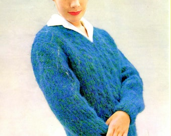 Retro Vintage Women's 60s V Neck Cabled Pullover Digital Knitting Pattern