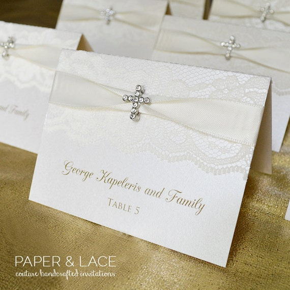 Crystal Cross Place Cards - White Lace Escort Cards - Elegant Table Cards - Place Cards - Couture Name Cards - Available in Ivory Lace