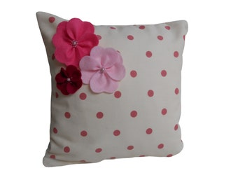 "Pink and Cream Dotty Print Cushion Cover with Felt Beaded Flowers, 12"" Flower Pillow Cover"