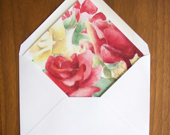 Envelope Liner Printable, Red Roses Watercolor - A2, A6, A7 INSTANT DOWNLOAD