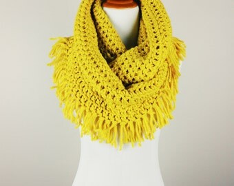 SALE | The Felicia Fringe Infinity Scarf in Glowing Gold | Chunky Scarf with Tasseled Edge