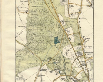 1919 Epping Forest, London, England, United Kingdom Antique map