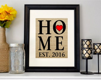 Personalized Home Sign - Burlap Housewarming Gift