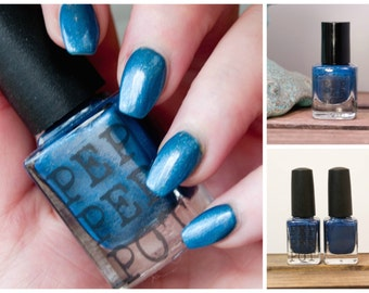 Dark Blue Mini Nail Polish 5 Free Nail Polish Indie Lacquer Bath Beauty Gift Under 10 Gift For Her Friends With Penalties Pepper Pot Polish