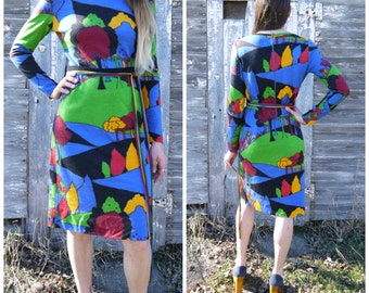 Amazing Designer One of a Kind Vintage 1970s Novelty Forest Print Wool Dress Small Medium