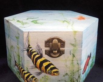 Painted Wooden Aquarium Box