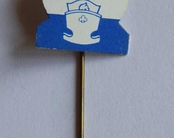 1960's Blue, White and Pink NIVEA Babyfine Metal Advertising Stick Pin / Lapel Badge