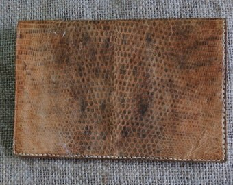 Vintage 1960's Light Brown Leather Snakeskin Wallet
