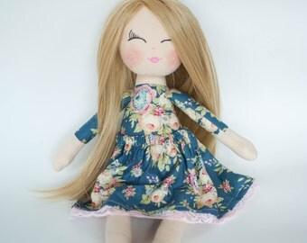 Fabric doll , blue dress, blonde hair, rag doll, cloth doll, birthday gift, christening gift, personalised doll, dolls, fabric dolls