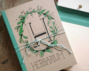 Herbarium - book for pressed flowers, plants, leaves // handbound, hand lettered, botanical stamps // unique design // gift for all ages