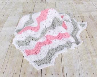 Pink Grey Chevron Baby Blanket, Ready to ship, Chevron Crochet Baby Blanket, Chevron Baby Blankets, Chevron Bedding, Crochet Baby Afghans