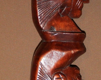 Hand Carved Tribal Wood Bow Handle