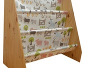 Kids wooden book sling bookcase with farmyard fabric