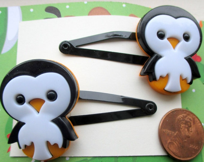 Penguin barrettes-winter hair clips-holiday hair accessories-childrens hair pins-kids-little Girls -girls gifts-winter clips