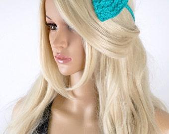 Bow Headband, Cotton Bow, Festival Headband, Cotton Headband, Bow Headpiece, Headband, Summer Headpiece, Turquoise Bow