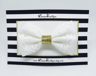 Cream White Lace Hair Bow, Ivory White Lace Hair Bow, White Lace Hair Bow, Gold Glitter Hair Bow, Gold Hair Bow