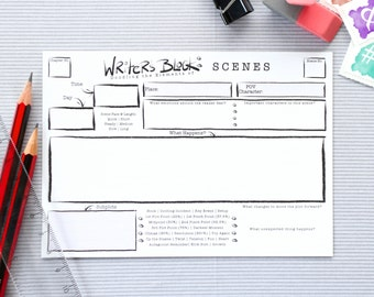 Writer's Block Scene Cards | Pack of 80 | A6 size (UK) | Scene Template | Develop your Scenes or Chapters | Author & Writer's Tool