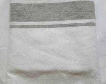 Fouta beach towel white and grey 100% cotton