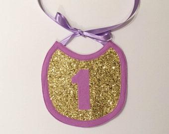 Gold Glitter and Lavender First Birthday Bib, Cake Smash Bib, Gold and Lavender First Birthday, First Birthday Photo Prop,