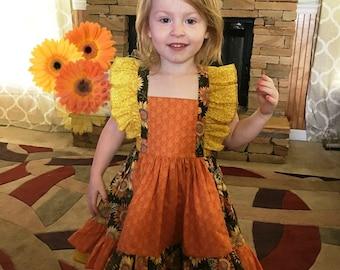 Girls Sunflower Dress, Girls Fall Dress, Thanksgiving, Autumn, Boutique, Orange Dress, Twirl Skirt Dress, Fall Ruffle Dress, Baby, Toddler