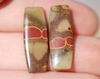 Pair of Jasper rectangle cabochons, red, tan, green, excellent polish, 25 x 9mm