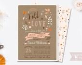 Fall in love bridal shower invitation fall autumn invite brown orange peach brown customizable digital printable DIY rustic kraft