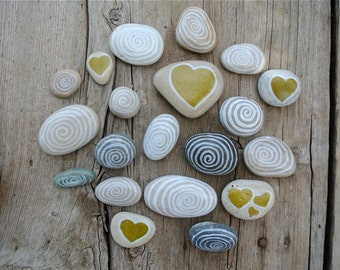 Hand-Painted Beach Stones, Stone Art, Heart Painting, Home Decor, Beach Pebbles, Decoration Stones