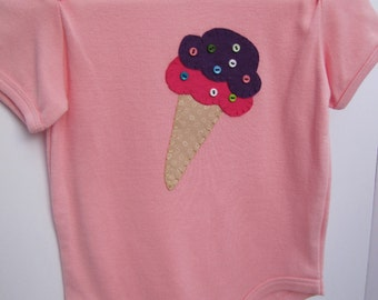 Ice cream onesie, baby girl gift, hand stitched, handmade, hand appliqued, ice cream applique, 18 months, toddler girl top, toddler girl