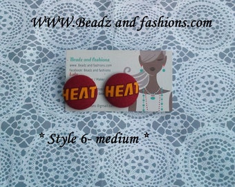 Miami Heat basketball button cover fabric earrings