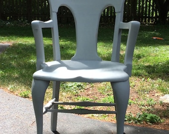 Gray Library Arm Chair / Lawyer's Chair / Accent Chair / Chalk Paint / Annie Sloan / Distressed / Shabby Chic
