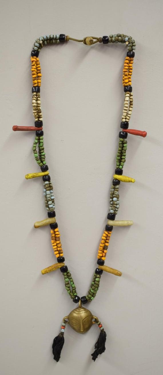 Naga Necklace Brass Head Pendant India Handmade Orange Blue Green Red Black  White Beads Trophy Naga Brass Head Necklace Unique