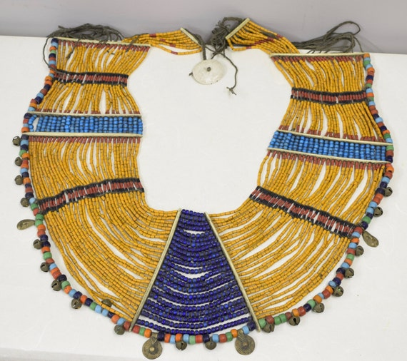 Beaded Necklace Collar Womans Naga Konyak Tribe Brass Bells Charms Handmade Black Rust Blue Tan Beads Tribal  Status Ornamental Ceremonial