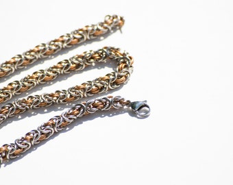 Bronze and Stainless Steel Byzantine necklace