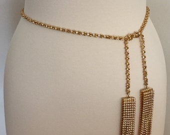 Vintage Stunning Designer Crystal Rhinestone Prong Set Belt / Lariat Necklace