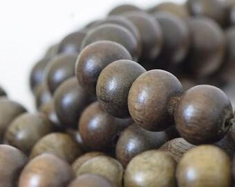 Natural Dark Graywood Beads, Ashy Brown Mala Beads, Round Wooden Mala Beads, Natural Graywood, Dark Brown Wood Beads, 8mm - 50 beads (W8-06)