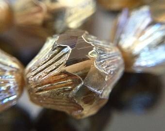Topaz Picasso Baroque Bicone Beads, Light Topaz Glass Bicones, Smoky Topaz Glass Bicone Beads with Picasso, 13x11mm - 10 beads (GB-09)