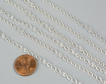 3mm Sterling silver Twist Oval Chain- Silver and Oxidized