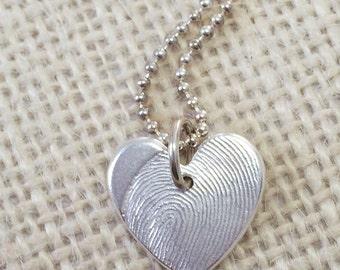 Fingerprint Heart Jewelry .999 Fine Silver Charm Pendant Personalized Keepsake