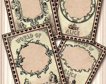 Alice in wonderland Jewelry Holders world of alice,  Digital Collage sheet / Instant Download Vintage Paper Scrapbook