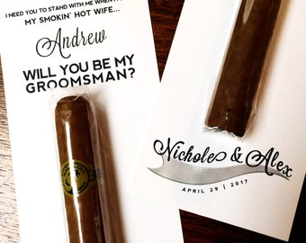 Custom Asking Groomsmen Cigar Label / Personalized Will You be My Groomsman Cigar Card / Unique Gifts for Men / Asking Best Man Best Selling
