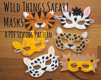 African Safari Masks (Tiger, Lion, Giraffe, Zebra and Leopard) Felt Dressup Mask PDF Sewing Pattern and BONUS Printables