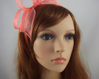 Coral Sinamay Loop & Leaf Fascinator with Feathers - Occasion Wedding Races