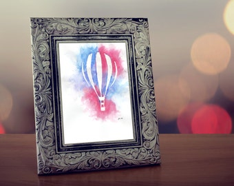 Fly Away, original watercolor painting of a hot air balloon by Allison Muldoon/ChuckandStan